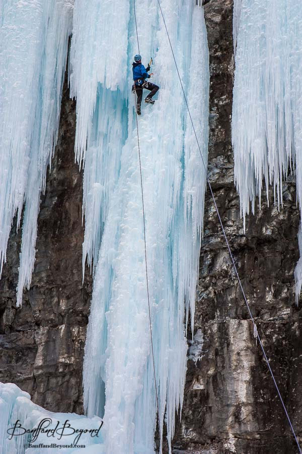 ice climber in banff national park johnston canyon