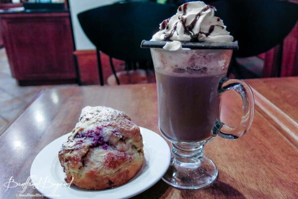 hot chocolate and scone at the fairmont chateau lake louise deli