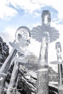 abstract people ice sculpture lake louise