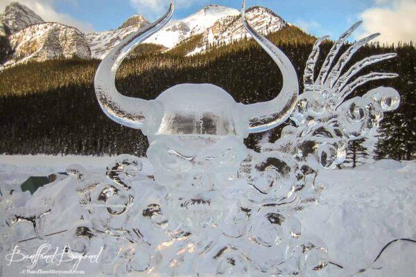 carved skull lake louise ice magic festival