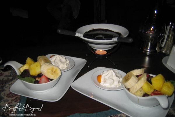 chocolate-fondue-fruit-romantic-dinner-dessert-date-night-special-evening-waldhaus-restaurant-banff-springs-hotel