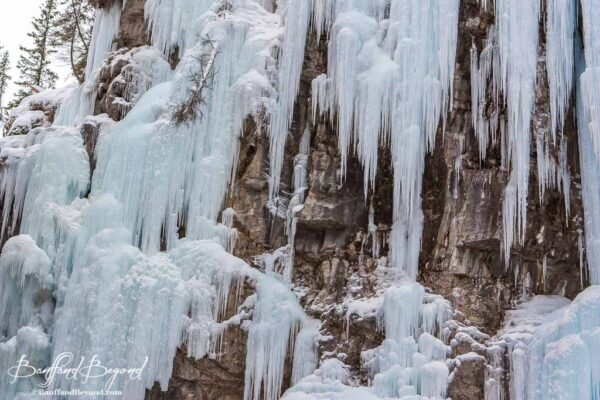 frozen waterfalls in johnston canyon