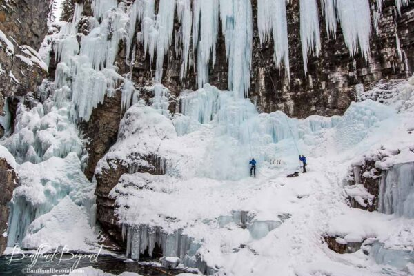 ice climbers in johnston canyon