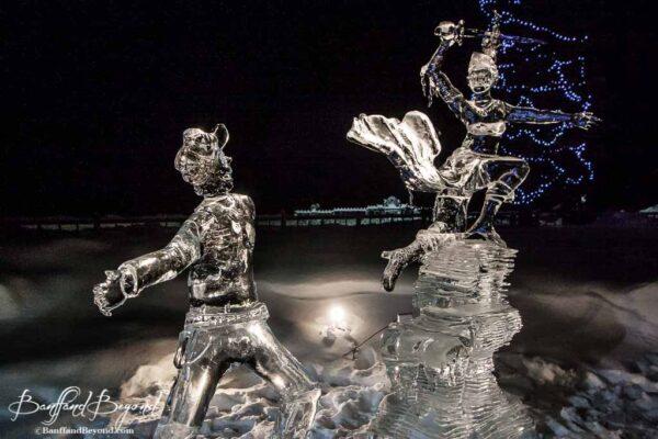 man and princess warrior ice sculpture lake louise