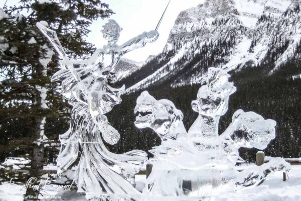 mystical wizard and three headed dragon ice sculpture lake louise