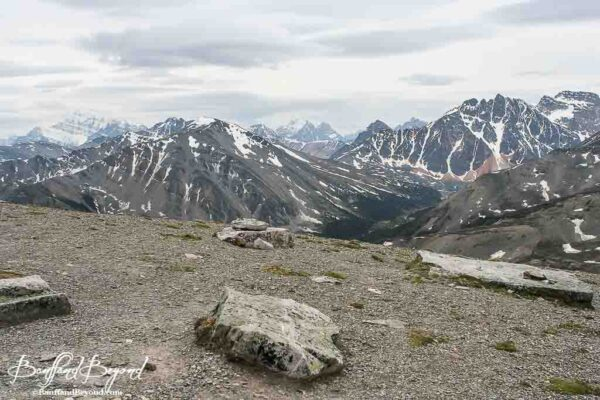 stunning panoramic mountain views from top of whistlers summit in jasper