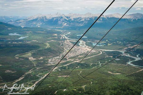 view of jasper and mountain valley from jasper tramway gondola