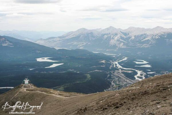 view of jasper town and mountain valley from tramway