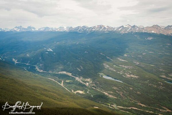 view of mountain ranges from jasper tramway