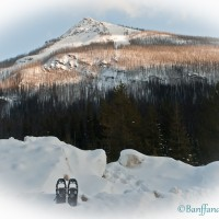snow-shoes-sitting-in-snow-with-mountain-in-background