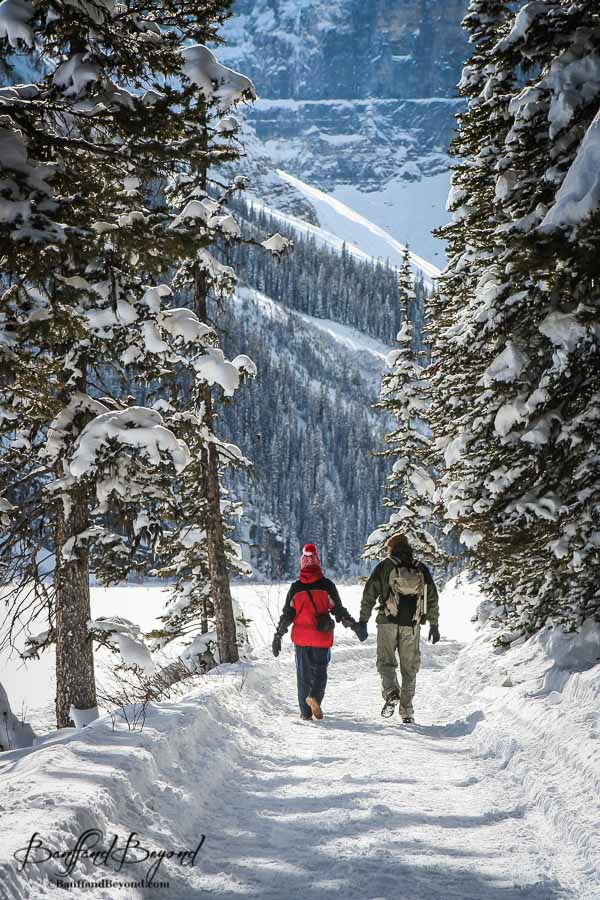 a couple holding hands taking a romantic walk along the snow covered shoreline trail at lake louise
