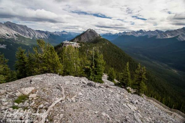 from top of sulphur mountain summit trail looing at banff