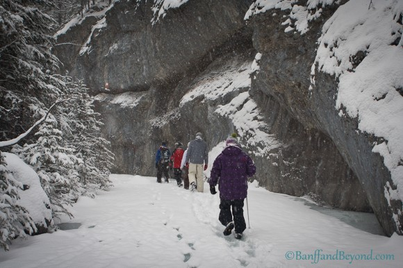 winter-hikers-frozen-creek-grotto-canyon-limestone-cliff-canmore-snow-winter-valley