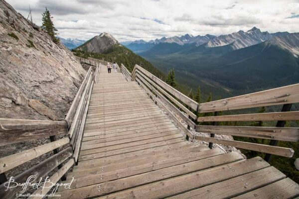 person on boardwalk in banff sulphur mountain