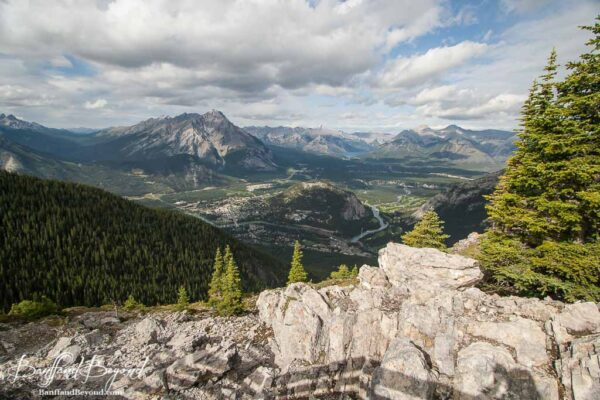 rocky cliffside and views from banff sulphur mountain gondola