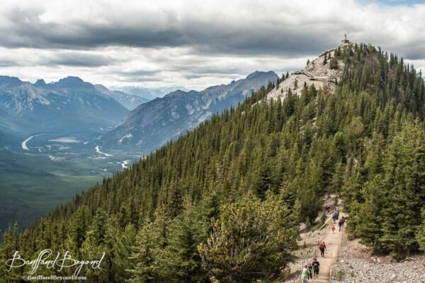 trail to sanson peak and weather station on sulphur mountain summit in banff