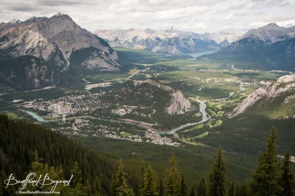 vast view overlooking banff and bow and spray valley from sulphur mountain summit