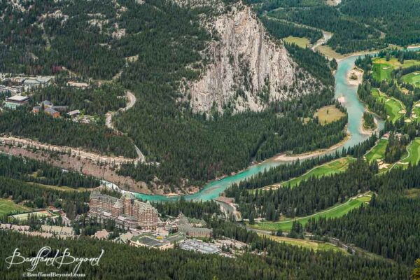 view-banff-town-sulphur-mountain-gondola-glacier-lakes-river-tunnel-roads