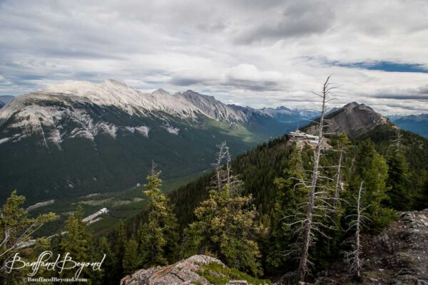 views from the summit of sulphur mountain trail looking at gondola building
