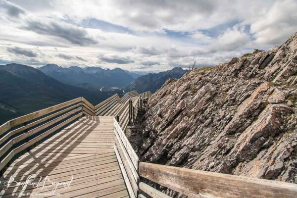 views from wooden boardwalks along sulphur mountain banff