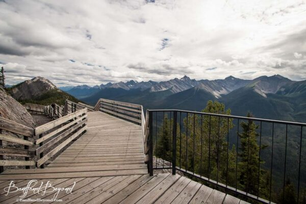 views from wooden boardwalks on sulphur mountain