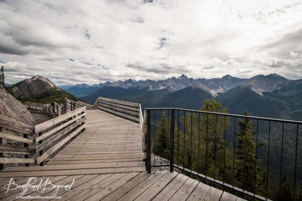 views from wooden boardwalks on sulphur mountain