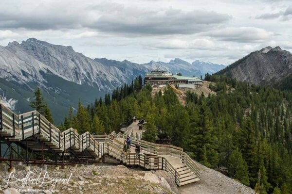 wooden stairs and boardwalks along the sulphur mountain summit trail