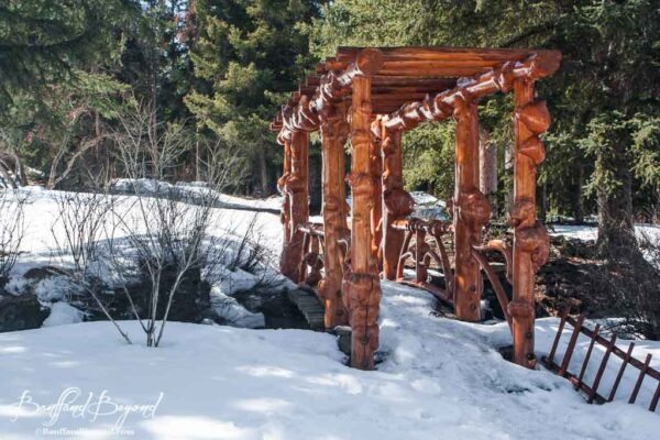 cascade gardens in winter with wood pergola