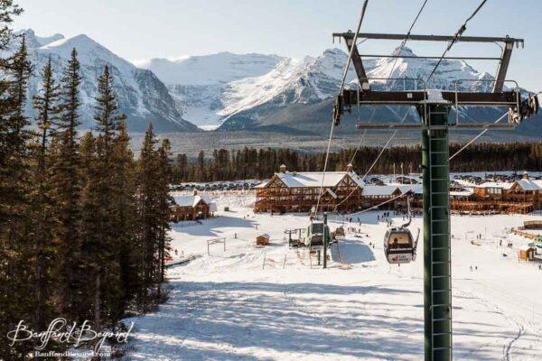gondola scenic ride in winter at lake louise ski resort