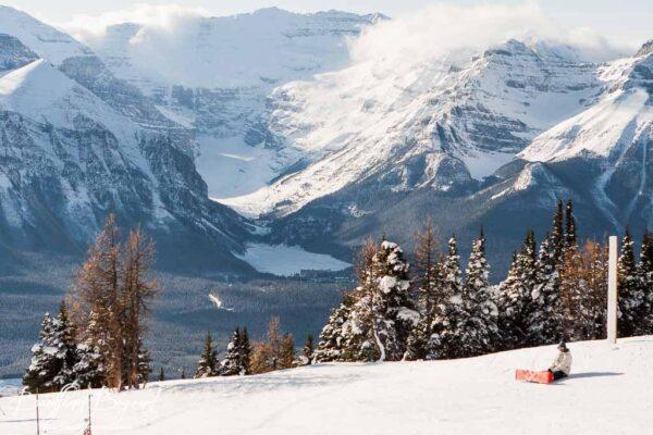 lake louise ski resort gondola with beautiful views
