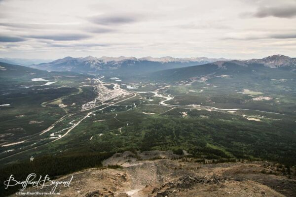 view looking at town and mountains from jasper tramway