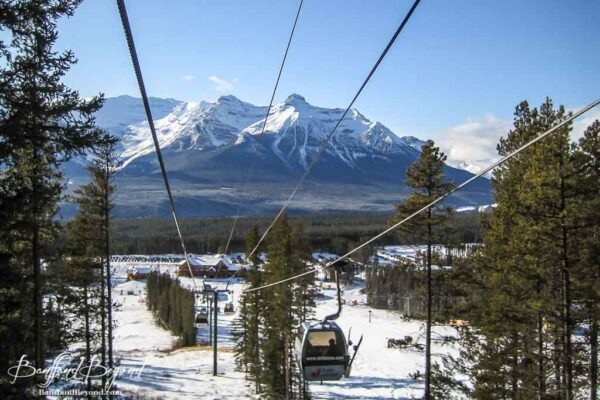 view of lake louise gondola and cables