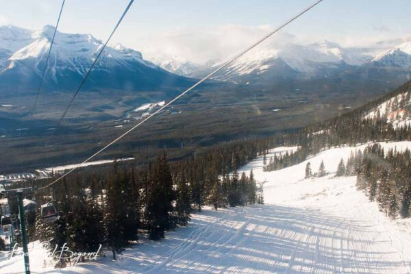 views while going up ski lift in lake louise