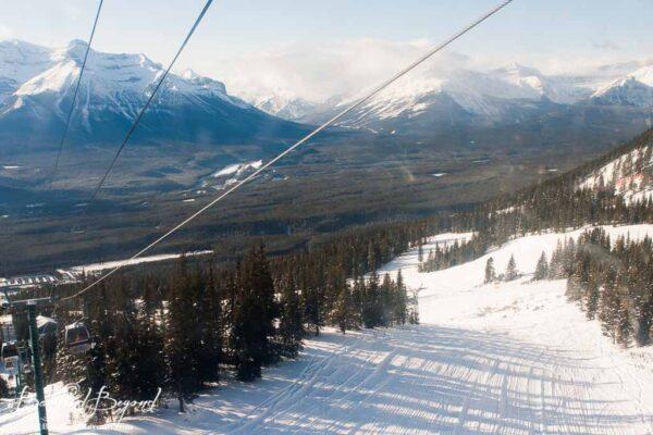 views while going up ski lift in lake louise