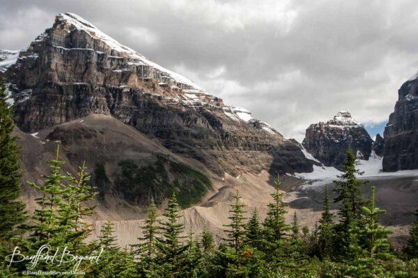 beautiful mountain views near the plain of six glacier tea house