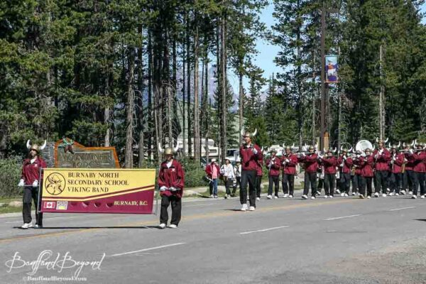 burnaby north secondary viking band in lake louise canada day parade