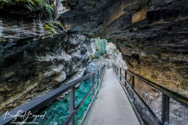 catwalk to lower falls in johnston canyon