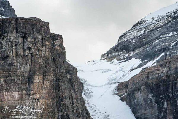close up view of the abbots hut near victoria glacier in lake louise