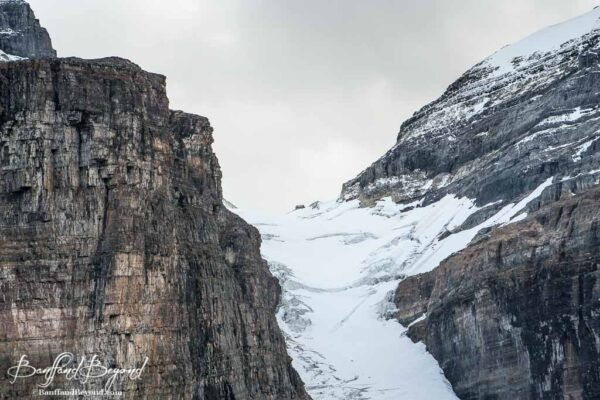 close up view of the abbots hut near victoria glacier in lake louise