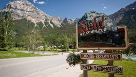 field-welcomes-you-sign-lodging-restaurants-groceries-crafts-mountains-road-trees-town-yoho-national-park-british-columbia