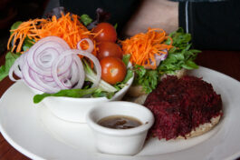vegetarian-burger-beet-salad-plate-truffle-pigs-bistro-restaurant-field-british-columbia-yoho-national-park