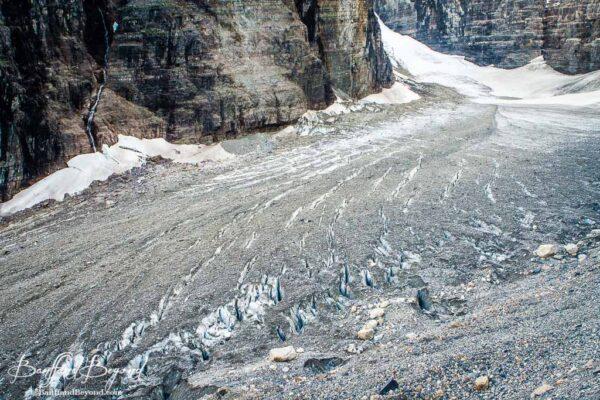 giant crevaces in victoria glacier