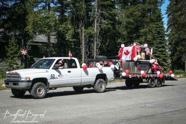 lake louise gondola car in canada day parade