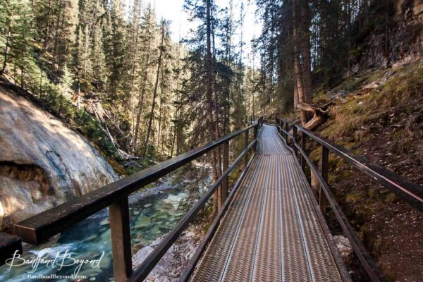 metal catwalk suspended in johnston canyon