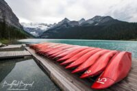 Canoeing On The Turquoise Waters Of Lake Louise