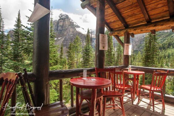 seating area of upper exterior balcony at the plain of six glaciers tea house