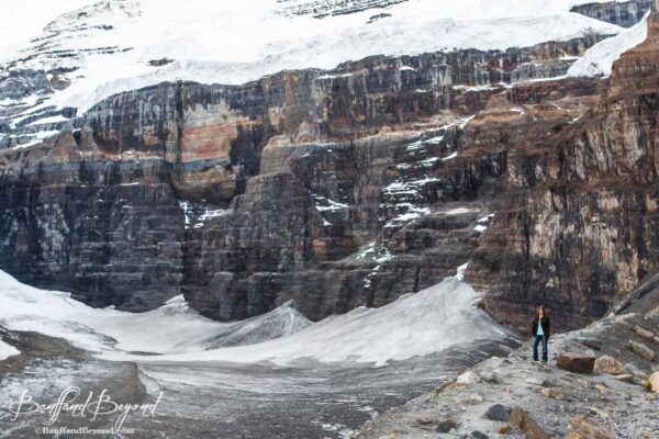 standing along the lateral moraine at the abbot pass viewpoint