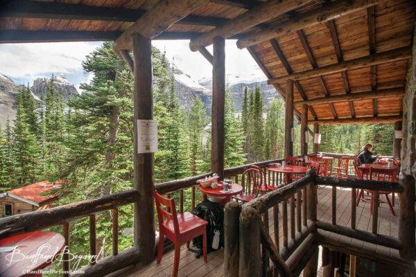 upper balcony of the plain of six glaciers tea house