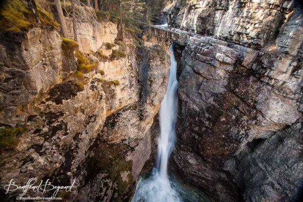 upper falls at johnston canyon hiking trail