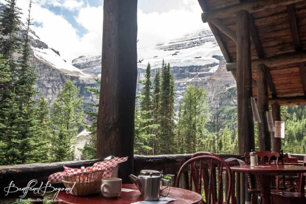 view from the outside upper balcony at the plain of six glaciers tea house